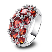 Luxuriant Red Garnet 925 Silver Ring Size 8 Female Adorable Jewelry Free Shipping Wholesale