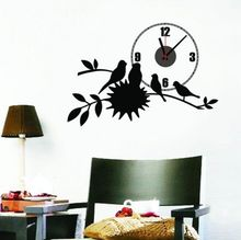 Buy Black Bird Nest Home Decor Wall Clock Wall Decal Sticker Real Clock 73*50CM for $10.39 in AliExpress store