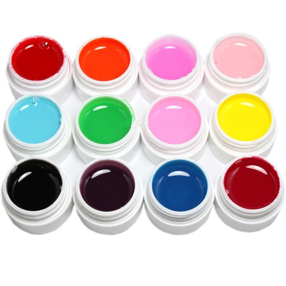 buy hot 12 pcs mix pure solid color uv builder gel set for nail art false. Black Bedroom Furniture Sets. Home Design Ideas