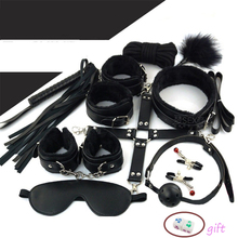 Fetish 10PCS Leather Handcuffs Nipple Clamps Adult Sex Toys for Couples BDSM Bondage Restraint Set SM Sex Products Slave Games