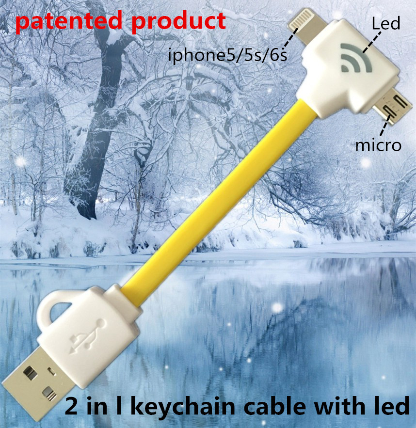 2 in 1 led usb cable with keychain Charging & data sync ...