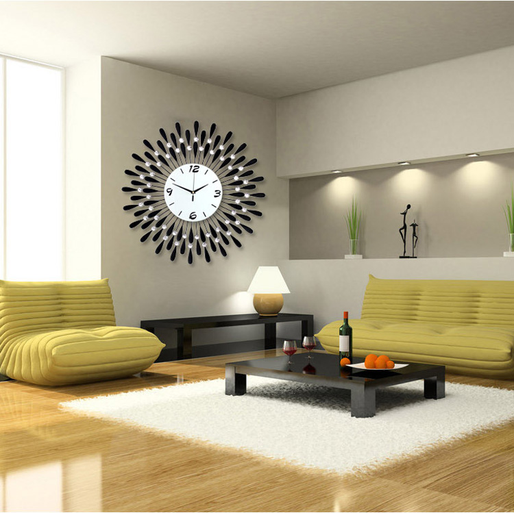 personalized large modern wall clock fashion mute electronic decoration quartz size6060cm