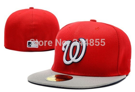Classic Nationals Letter W Logo Baseball Fitted Hats Men's,Sport Full Closed Caps Women's,Fashion Cotton Casual Hats(China (Mainland))