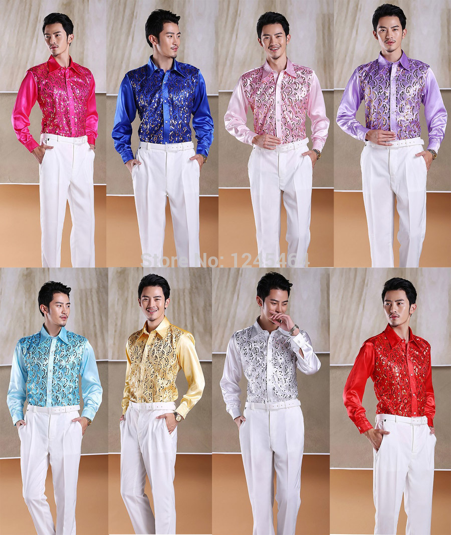 plus size S-3XL 2015 new fashion Men show Sequins shirt men's stage costume party dance colorful shirt long sleeve chemise homme(China (Mainland))