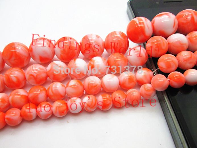 Free Shipping Acrylic Bicolor Orange Swirl Chunky Beads Round Spacer Beads 8/10/12/14/16mm For Fashion Jewelry Making (B00029)(China (Mainland))
