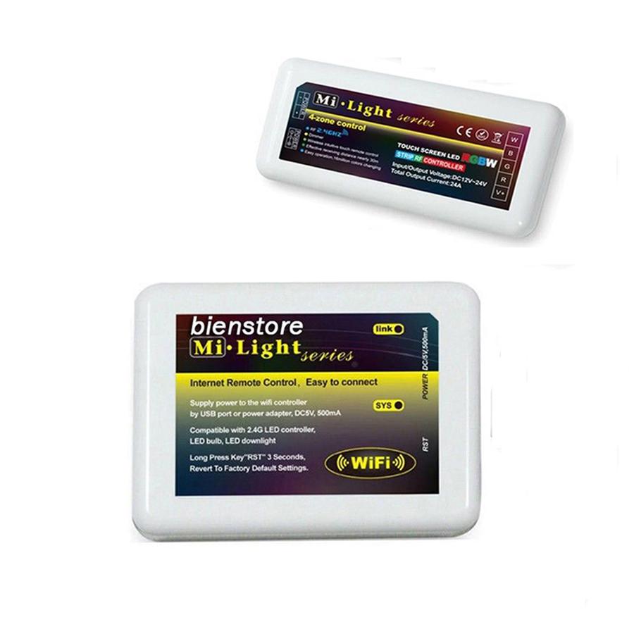 1pcs Mi.Light 2.4G WIFI Phone Controller + 1pcs 4-Zone RGBW RF Controller FOR 12V 5050 5630 3528LED Strip<br><br>Aliexpress