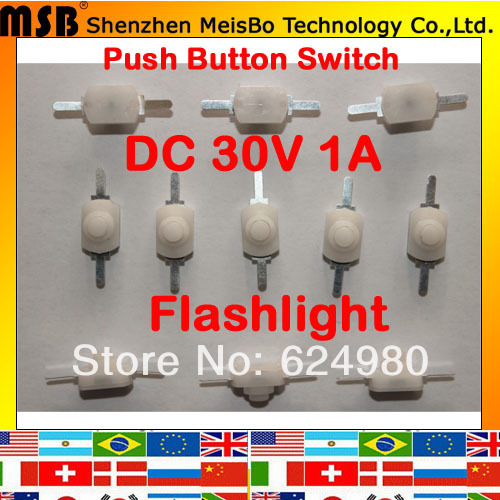 Гаджет  Hot 1A 30V DC 250V AC white colour Latching on off mini torch flashlight push button switch 200pcs Free shipping None Электротехническое оборудование и материалы