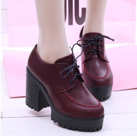 Women's pumps!New 2015 spring autumn female shoes high heels thick heel platform black high-heeled - SAR store