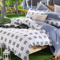 Cotton bedding set king,White Blue duvet cover set with bed sheet,Double single bedclothes,Twin/Queen bed linen #CM4870