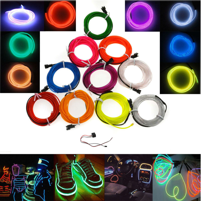 Waterproof 3M Neon El Wire 10 Colors Flexible Rope Tape Tube LED Grow Lights + 12V Car Controller Party Decoration Wedding(China (Mainland))
