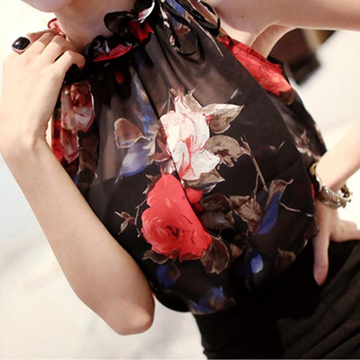 Женщины блузка мода летний стиль рукавов цветочный узор шифон блузка старинные женщин топы, Большой размер xs-xxl, Wbs199