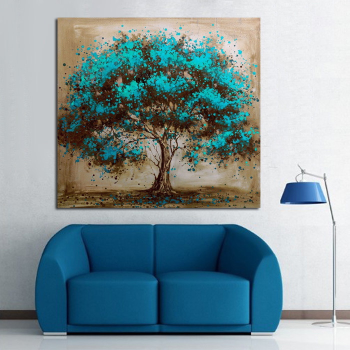 Handpainted Modern Abstract Blue Tree Canvas Art Decoration of Oil Painting Wall Pictures For Living Room Paint(China (Mainland))
