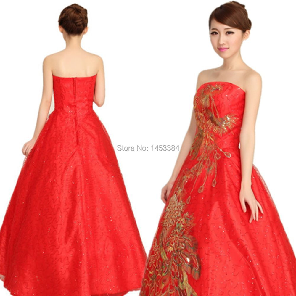 Free shipping large red lace phoenix wedding dress new for Best bra for wedding dress
