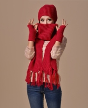 4 Colors 3Pcs Set Women Hat Scarf Gloves Set Female Winter Knit Scarves Sets Outdoor Warm Clothing Accessories(China (Mainland))