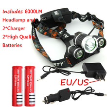 Promotion RJ3000 6000LM CREE XML T6 +2R5 3LED Headlight,Headlamp,Fishing,Head Lamp Light +2*18650 battery+AC Charger+Car Charger(China (Mainland))