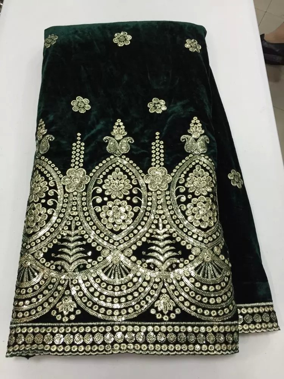 High quality african velvet lace fabric with for Velvet and lace wedding dresses