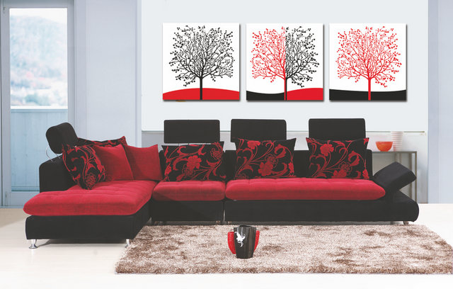 3 Pcs Sets Canvas Painting Red White Black Red Trees Art Cheap Picture Home Decor On