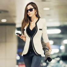 Women Blazers And Jackets 2015 Spring Autumn Show Thin Coat Single Button Patchwork Blazer Bleiser Feminino Fashion Style Coats(China (Mainland))