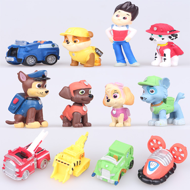 2016 the 12 dogs patrol car micro landscape decoration toy doll Baby gift(China (Mainland))