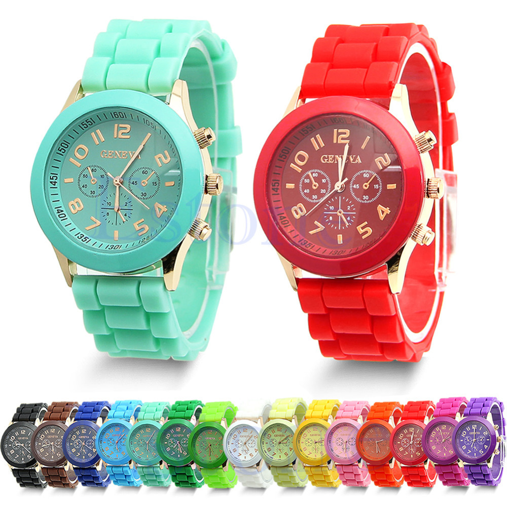 W110 inchClassic Womens Girls Geneva Silicone Jelly Gel Quartz Analog Sports Wrist Watch - co-co fashion store