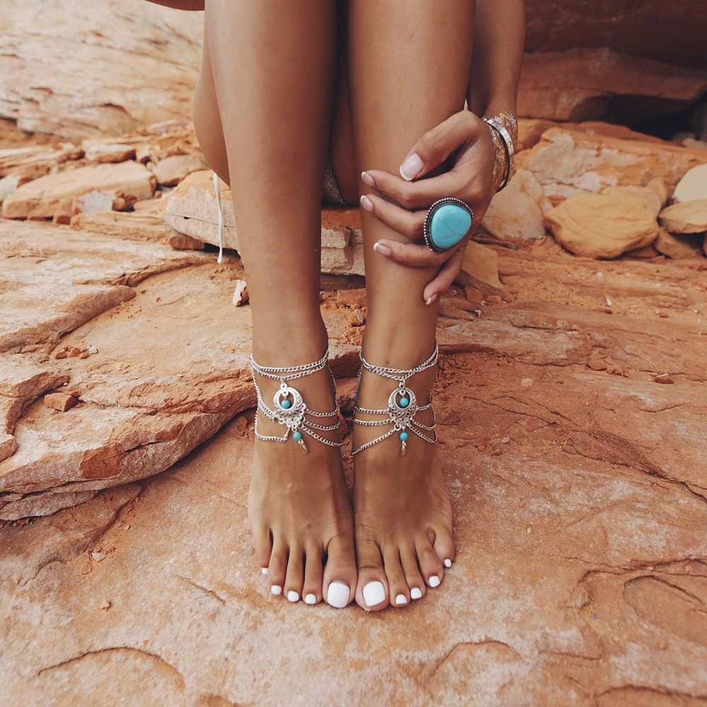 Vintage Ethnic Wind Hollow Multi Layer Anklets For Women Foot Jewelry barefoot Bracelets chaine cheville enkelbandje halhal