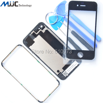 4S Back Glass Cover Rear Case Housing for iPhone 4s Front Glass Middle Frame Bezel Replacement Repair Parts+Free Tools