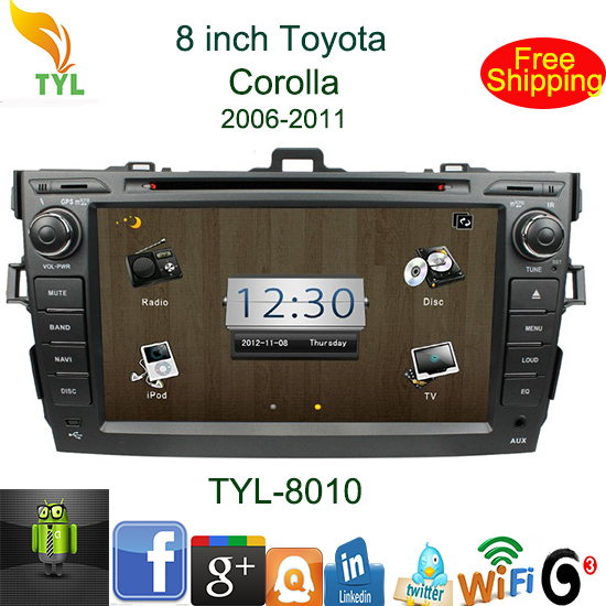 Android 4.0 car autoradio for Toyota COROLLA 2006-2011 with wifi 3G GPS TV Radio PIP hotselling and freeshipping(China (Mainland))