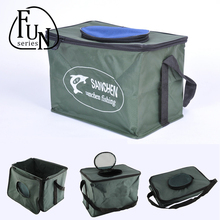 FunSeries Folding Live Fish BOX Plastic Carp Rod Bucket Water Tank With Handle Bags Fishing Tackle Accessories(China (Mainland))