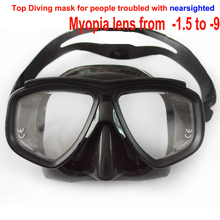 Professional tempered glass myopia lens scuba diving mask optical diving mask black silicone low profile freedive mask spearfish(China (Mainland))