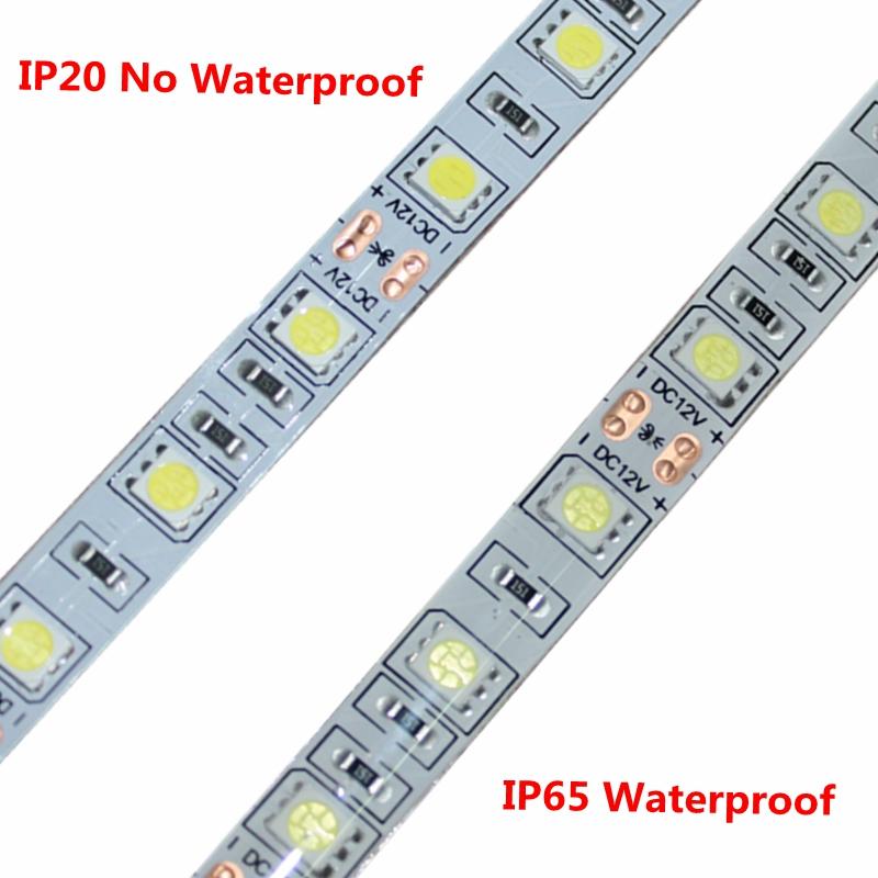 DC12V LED Strip 5050SMD 60LEDs/M DIY Flexible LED Light Waterproof RGB 5050 LED Tape For TV Background Lighting Decoration