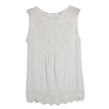 Women Summer Tops Tank Lace Hollow T Shirt 201 Fashion Cotton Sleeveless