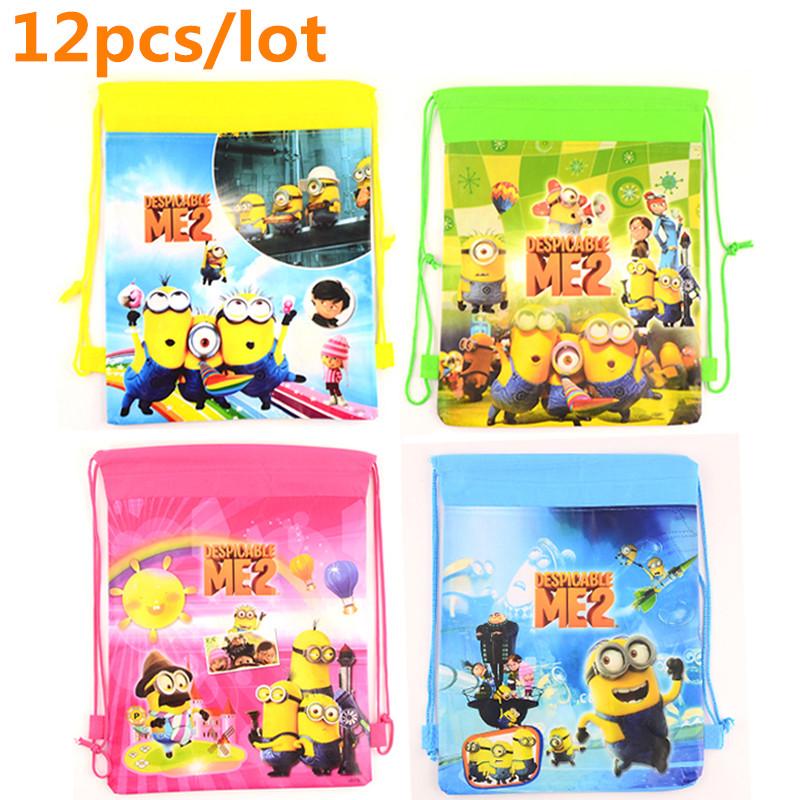 12 pcs/lot Minion character Drawstring Bags for boys girls Children School Bags Mochila Minion Backpack Kids Christmas Gifts<br><br>Aliexpress