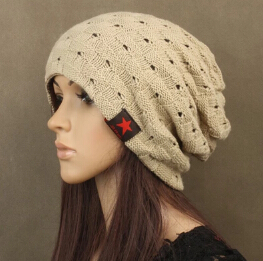 Unisex Mens Women hatBaggy Beanie Winter Knitted Hats for woman Autumn Warm Ski Capbeige Dark red black red star Ladies Fashion(China (Mainland))