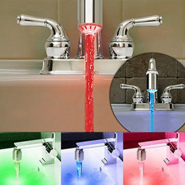RGB Glow LED Light Water Faucet Temperature Sensor Controlled Tap Color Changing(China (Mainland))