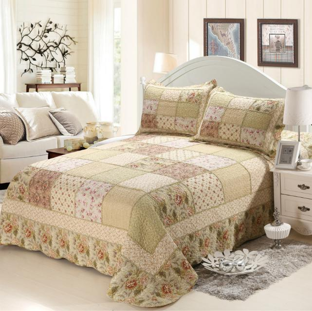Factory outlet 3pcs 100% cotton bedding set king size, Pastoral style floral patchwork bedspread/bedcover pillow case(China (Mainland))