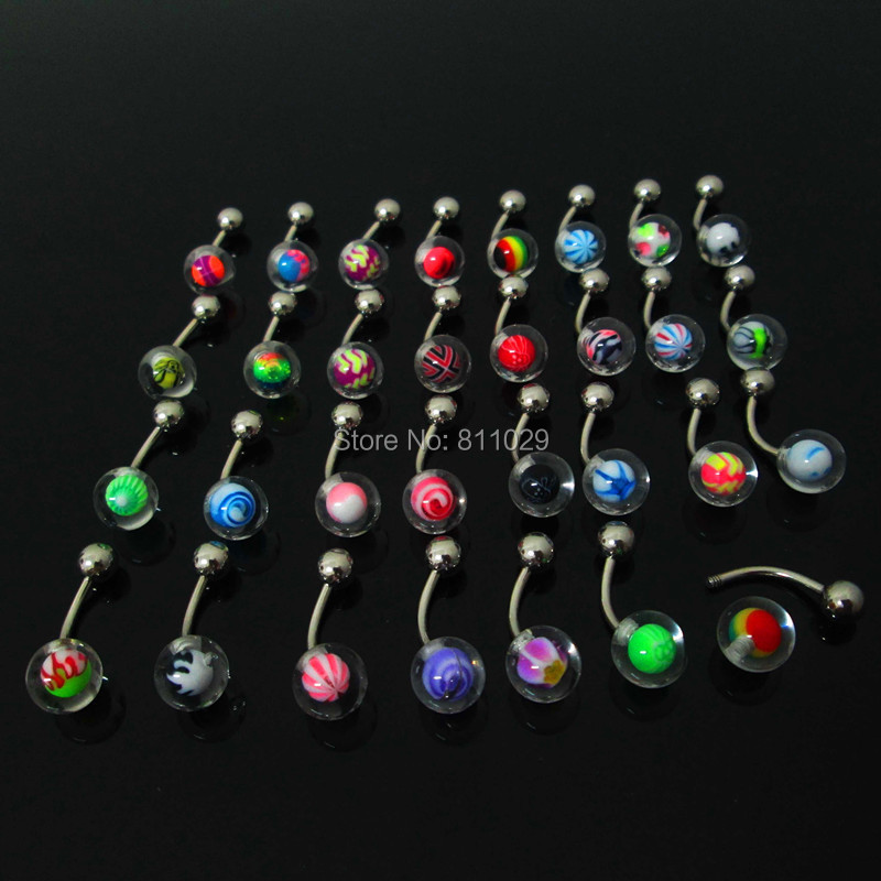 Hot wholesale 100pcs 1.4*10*5/8mm mixed colors inlay logo balls UV acrylic piercing navel belly button ring free shipping