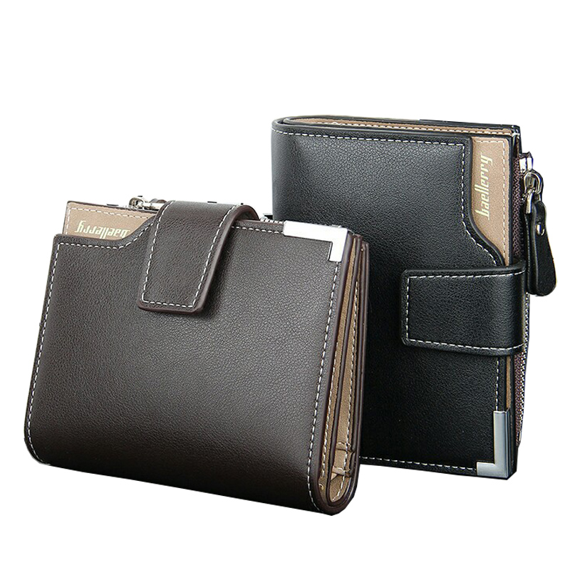 Men Short Wallets Balck Brown Bifold Wallet Mens Brand Genuine Real Leather Card holder Coins With Zipper Wallet Purses Pockets(China (Mainland))