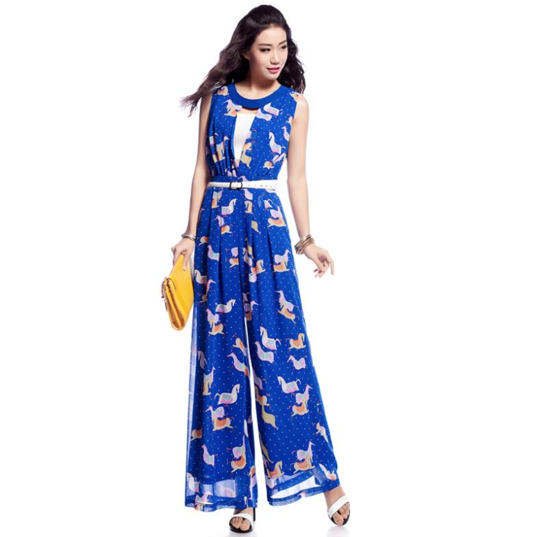 free shping Xinyu spring 2014 summer new printed chiffon women jumpsuits L092SU14 wide-legged trousers waist high fashion