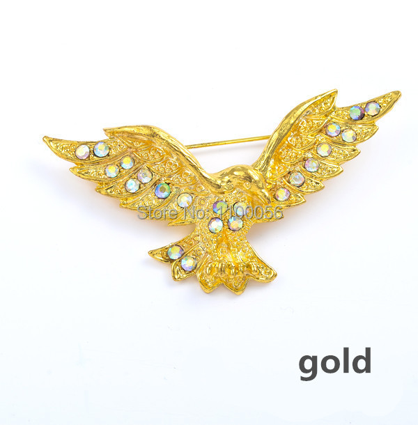 Trendy Gold Rhinestone Eagle Brooch for Men Suit Black Animal Crystal Broches SIlver Broach X0046(China (Mainland))