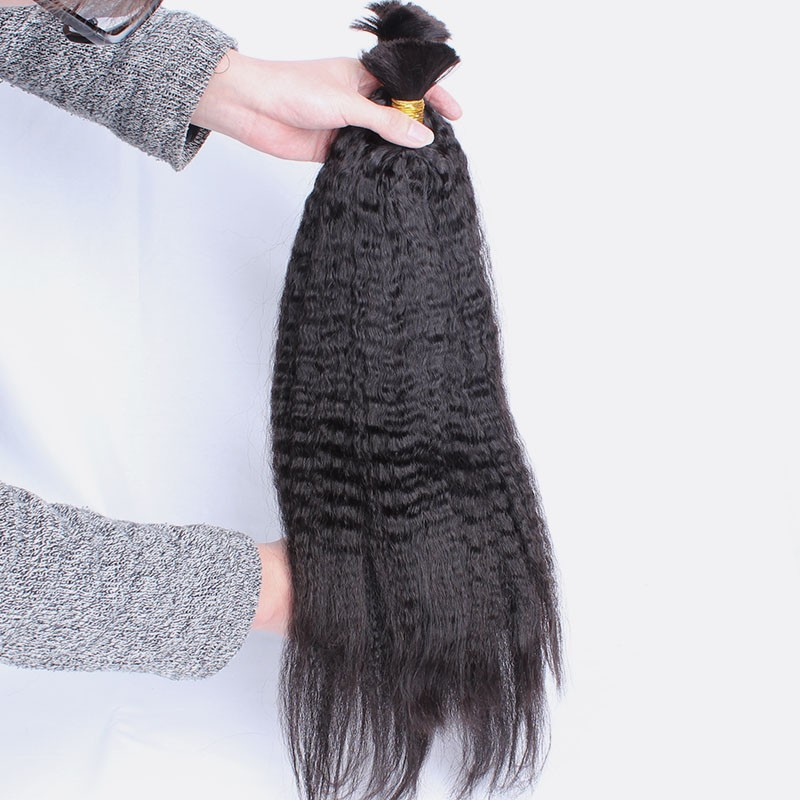 Human Braiding Hair Bulk Kinky Straight Human Hair For Braiding Bulk Peruvian Virgin Hair 2Pcs/Lot Coarse Yaki No Attachment