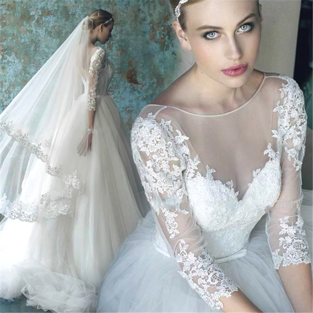 Romantic Wedding Dresses: Romantic Wedding Dress With Sleeves 2015 White Lace Bridal