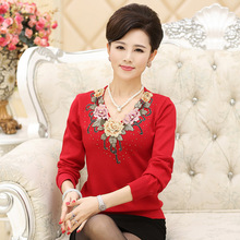 new women's sweater 2016 spring basic shirt long-sleeve knitted wool sweater embroidery mother clothing(China (Mainland))