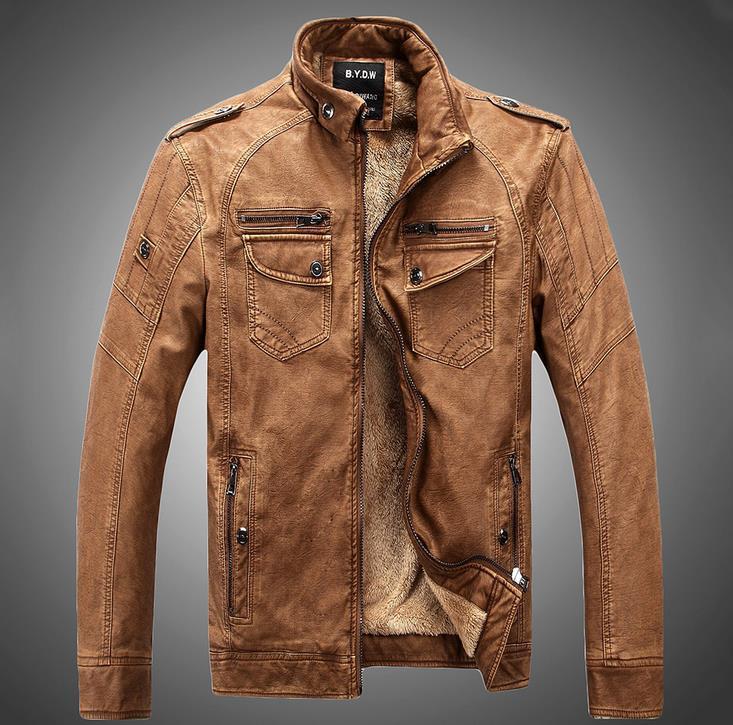 Hot high quality fashion Winter Men coat leather jacket big yards(China (Mainland))