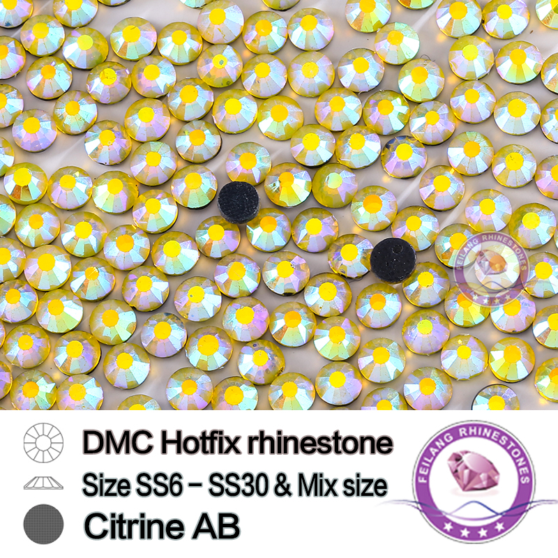 Glass crystal DMC heat transfer rhinestone ss20 citrine AB SS6 SS10 SS16 SS20 SS30 special color DIY stones for garments(China (Mainland))