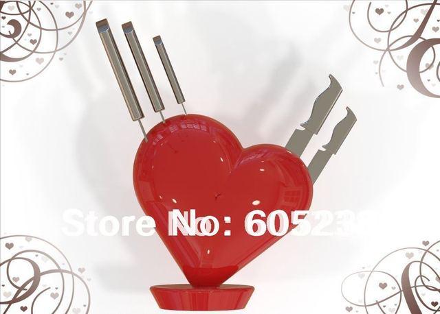 Free Shipping 1Piece New Arrival Red Heart Knife Block Broken Heart Knife Block