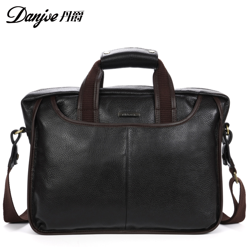 Фотография Briefcase for male first layer cowhide male Messenger Bags can fit 14 Inch Laptop business bag Large male Purse Solid  handbag