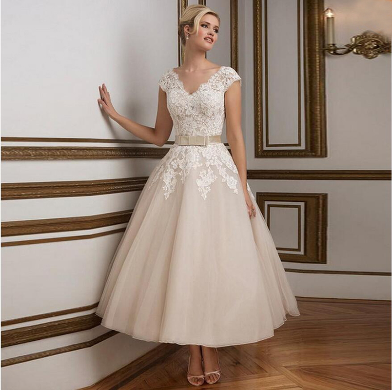 Vintage short organza wedding dress 2016 new arrival ankle for Ankle length wedding dress with sleeves