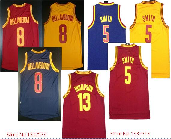 New fabrics free shipping #5 Jr Smith #13 Tristan Thompson 8 Dellavedoa Basketball Jersey All stitched logo basketball jerseys(China (Mainland))