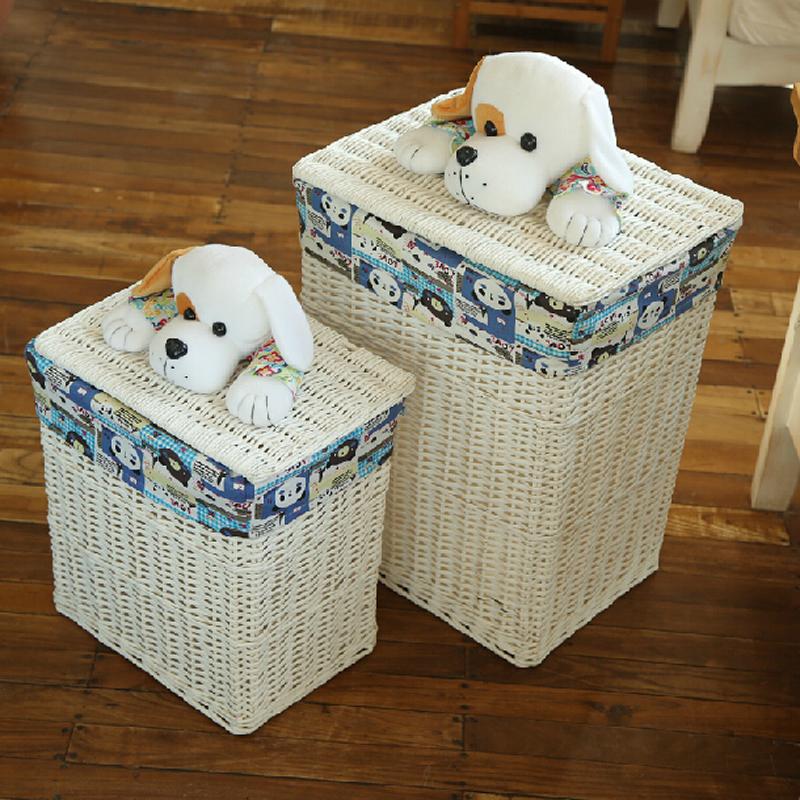 Decorative wicker baskets with lids large laundry basket for clothes white panier de rangement - Rattan laundry basket with lid ...