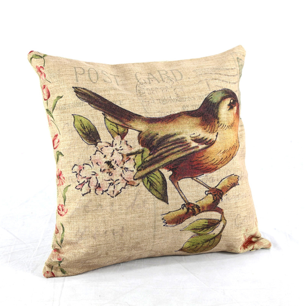 Decorative Pillows With Bird Design : Free Shipping Home Decor Pillowcase Cushion Cover Throw Pillow Vintage Bird Flower Tree 18 ...